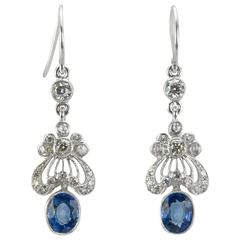 Edwardian Style Sapphire Diamond Gold Earrings