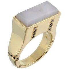 Black Sapphire White Agate Gold Ring