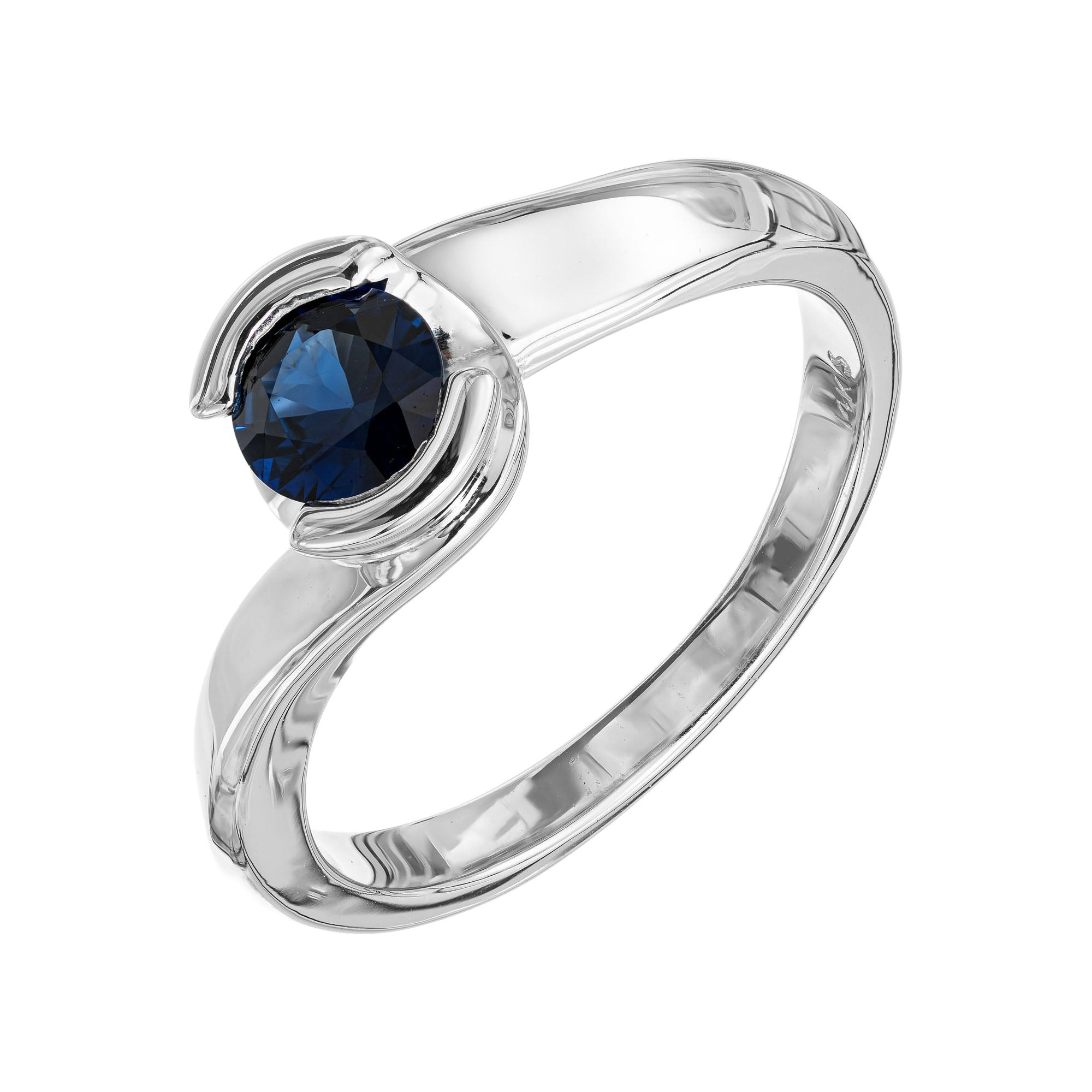 .65 Carat Blue Sapphire White Gold Engagement Ring