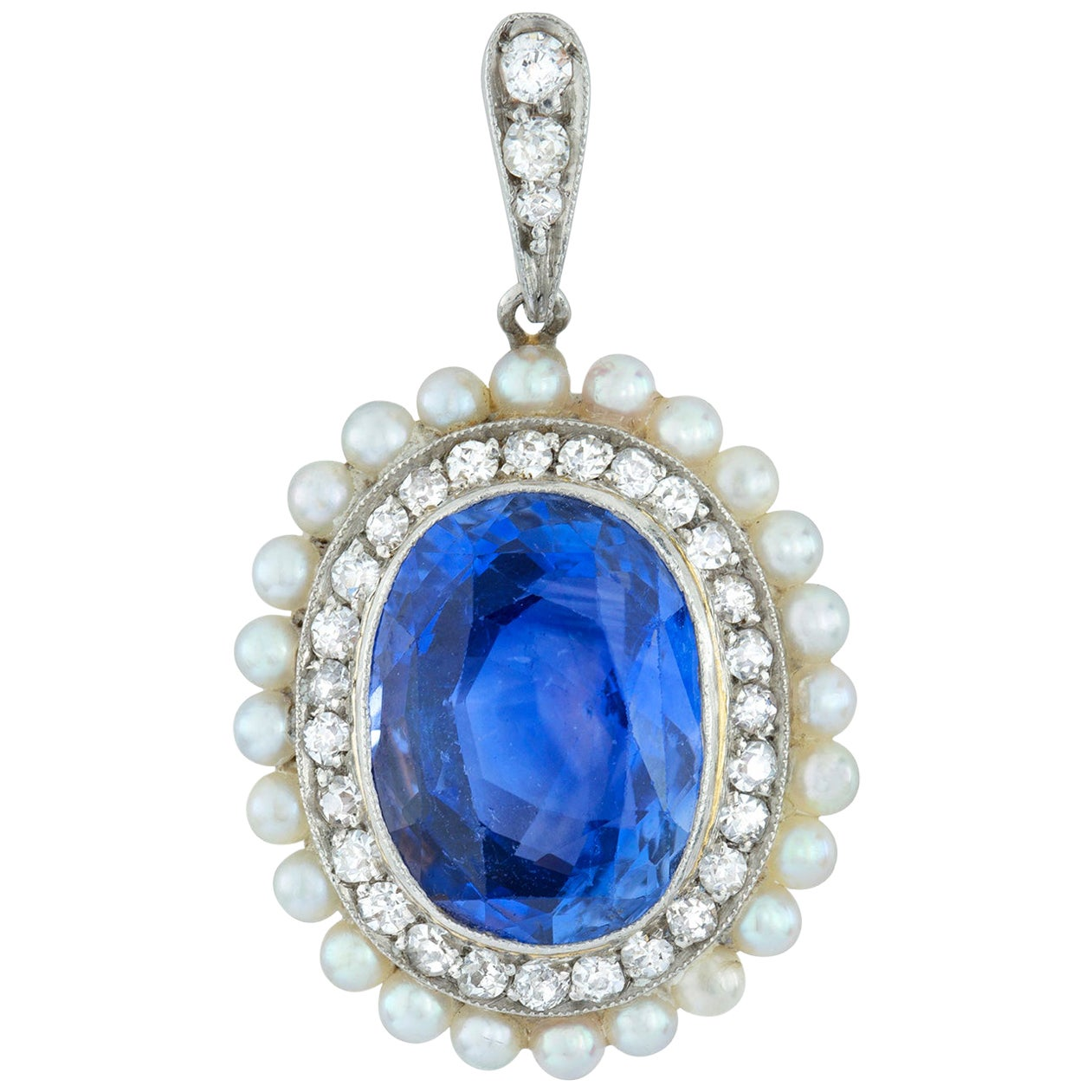Edwardian Sapphire Diamond and Pearl Pendant
