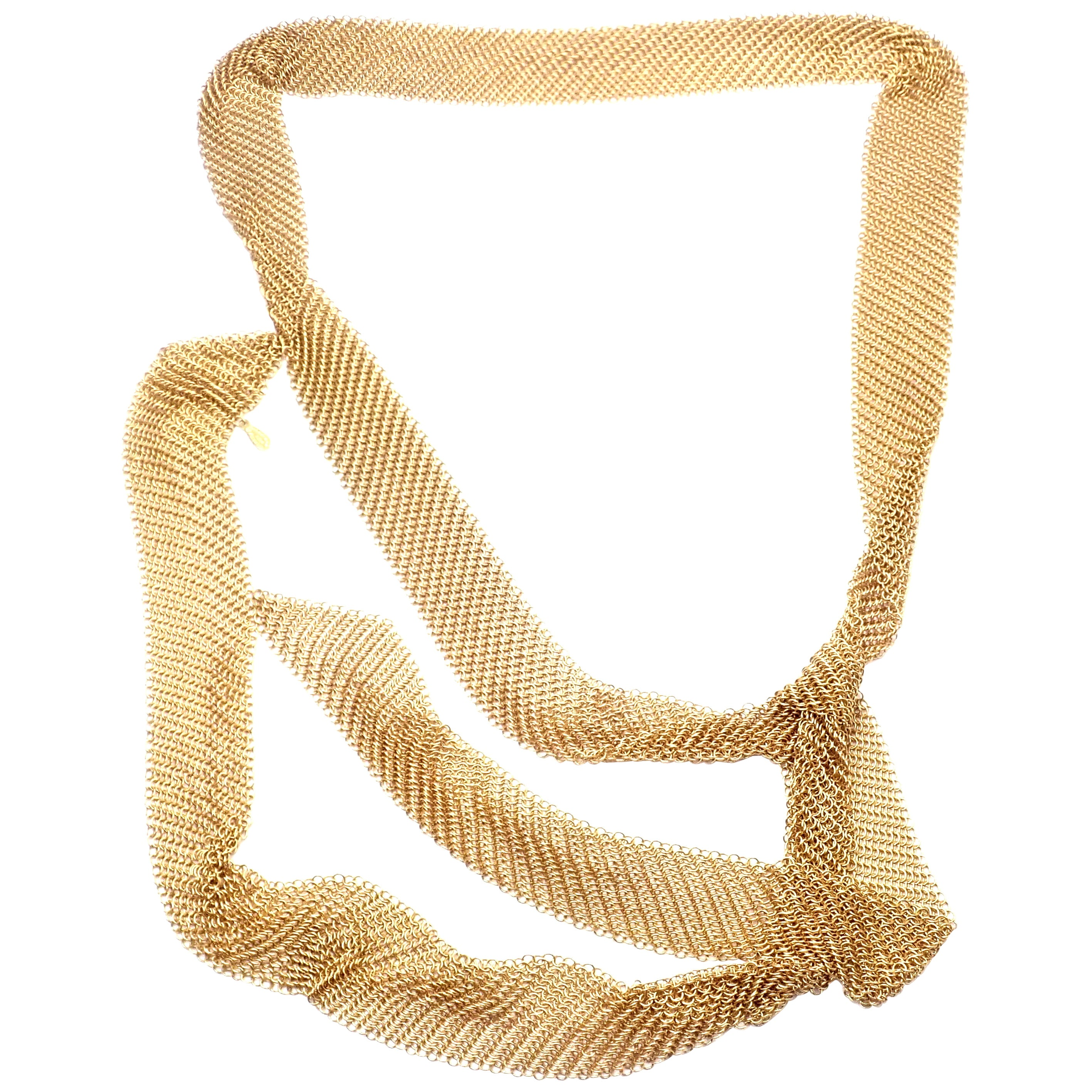 Tiffany & Co. Peretti Long Mesh Scarf Yellow Gold Necklace