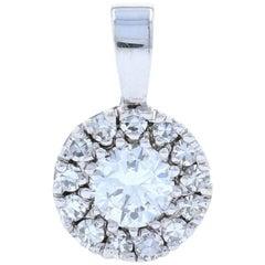 Diamond Halo Pendant, 14 Karat White Gold Cluster Round Cut .59 Carat