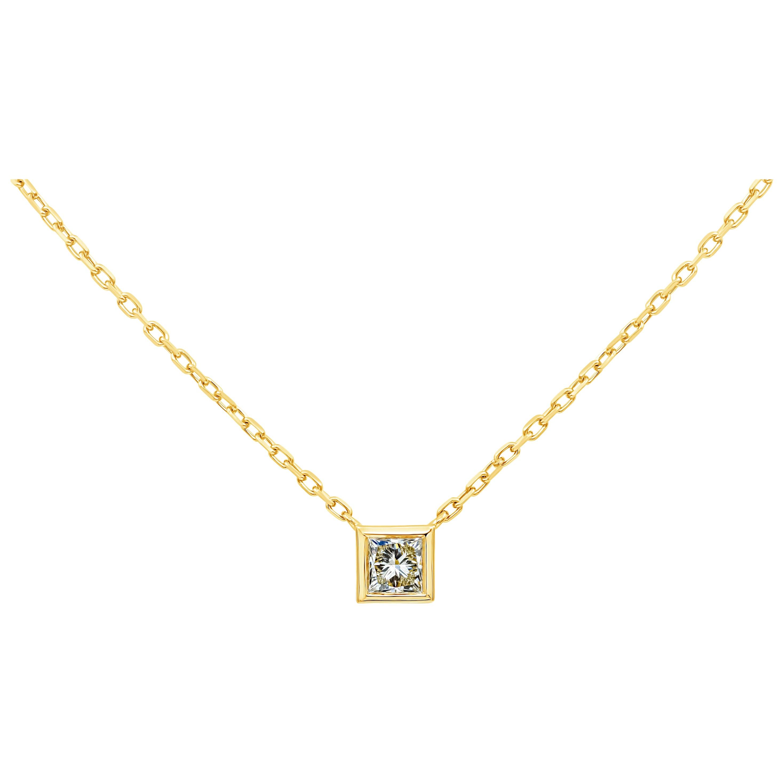 1.07 Carat Princess Cut Diamond Solitaire Pendant Necklace