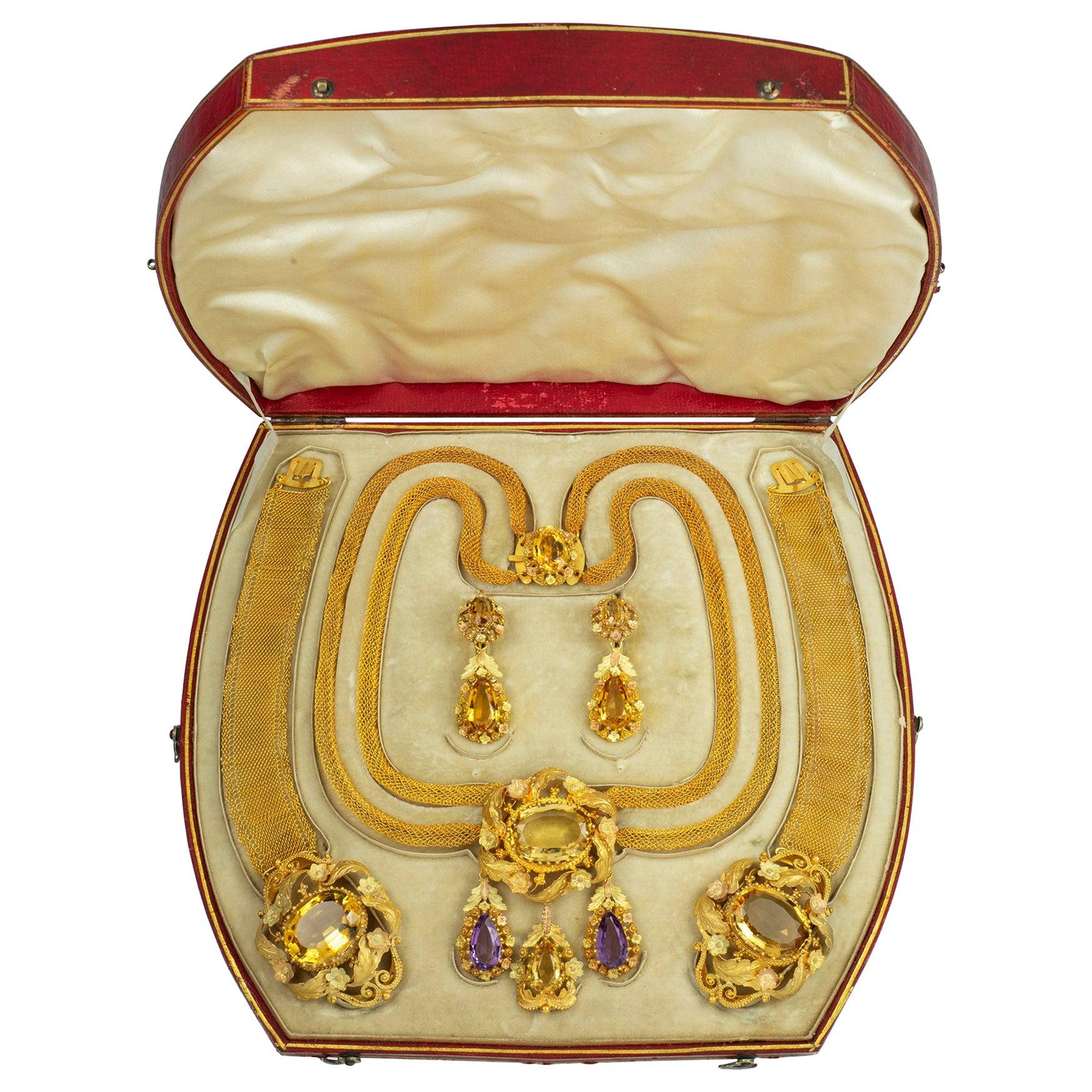 Fine Georgian Citrine and Gold Parure