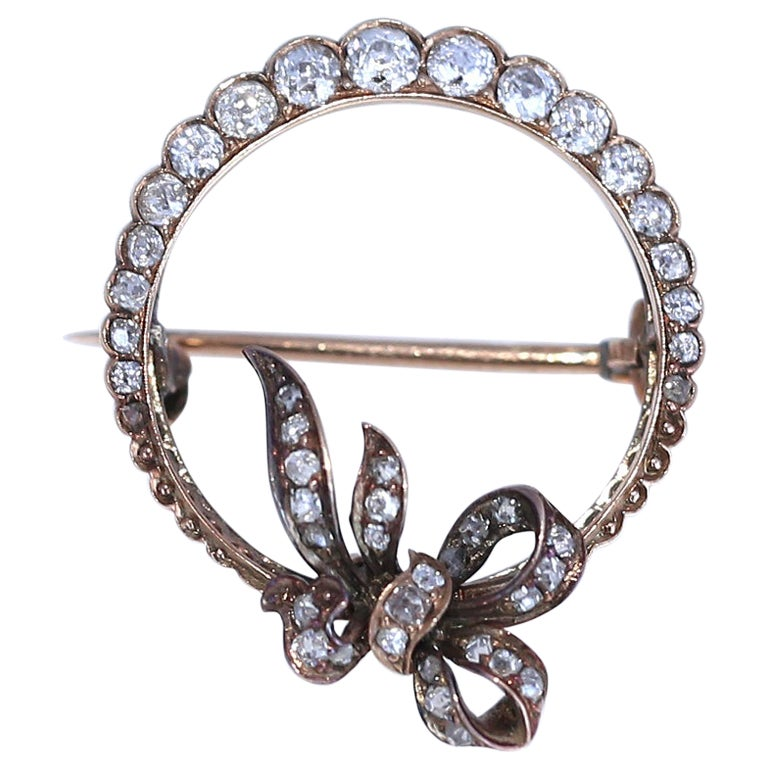 Victorian Diamond Brooch Gold, 1900
