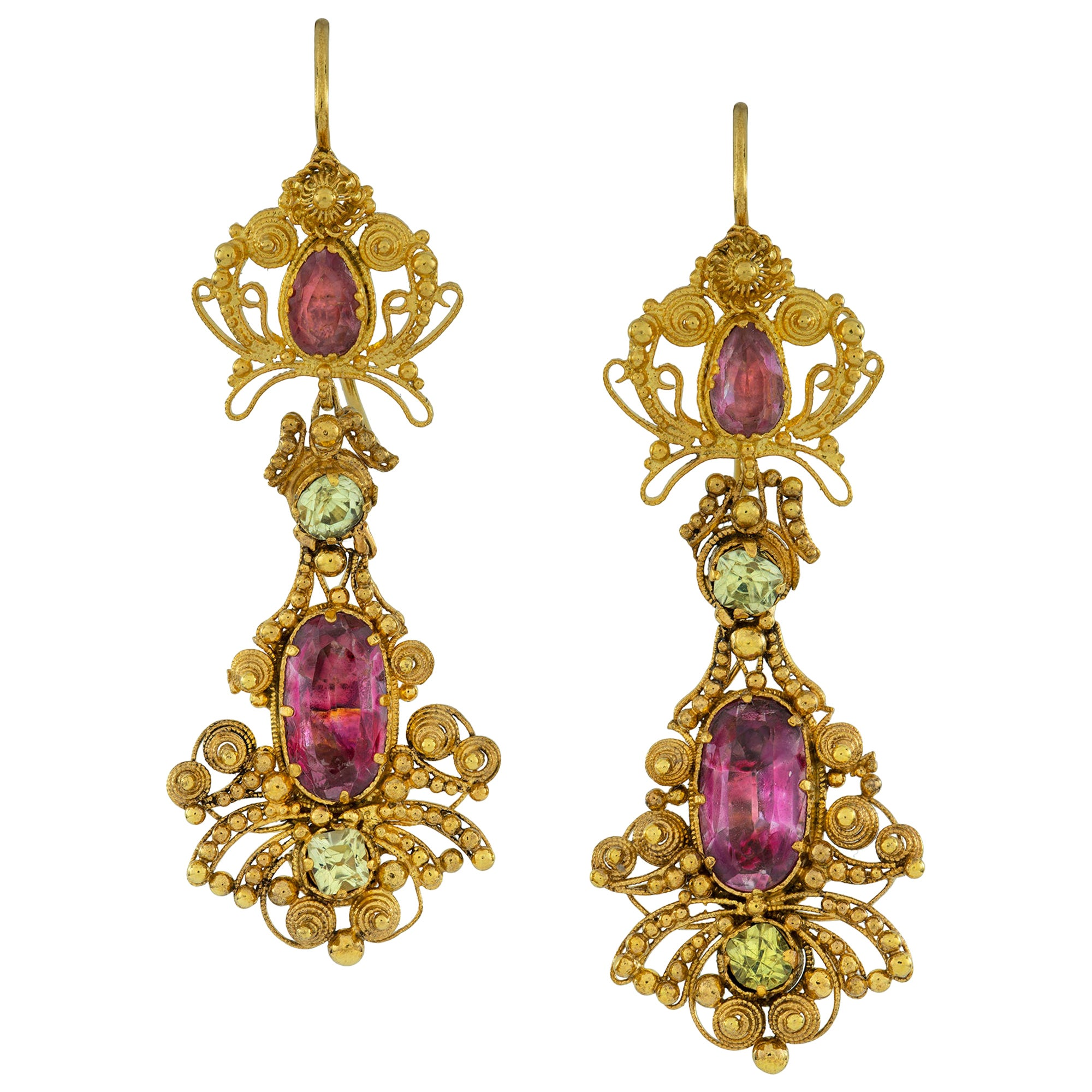 Pair of Georgian Topaz Drop Earrings