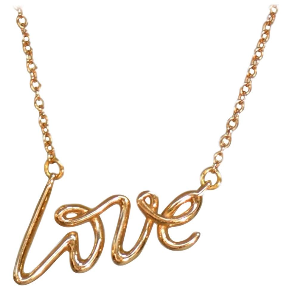 Tiffany & Co. 18 Karat Rose Gold Paloma's Graffiti Love Pendant Necklace