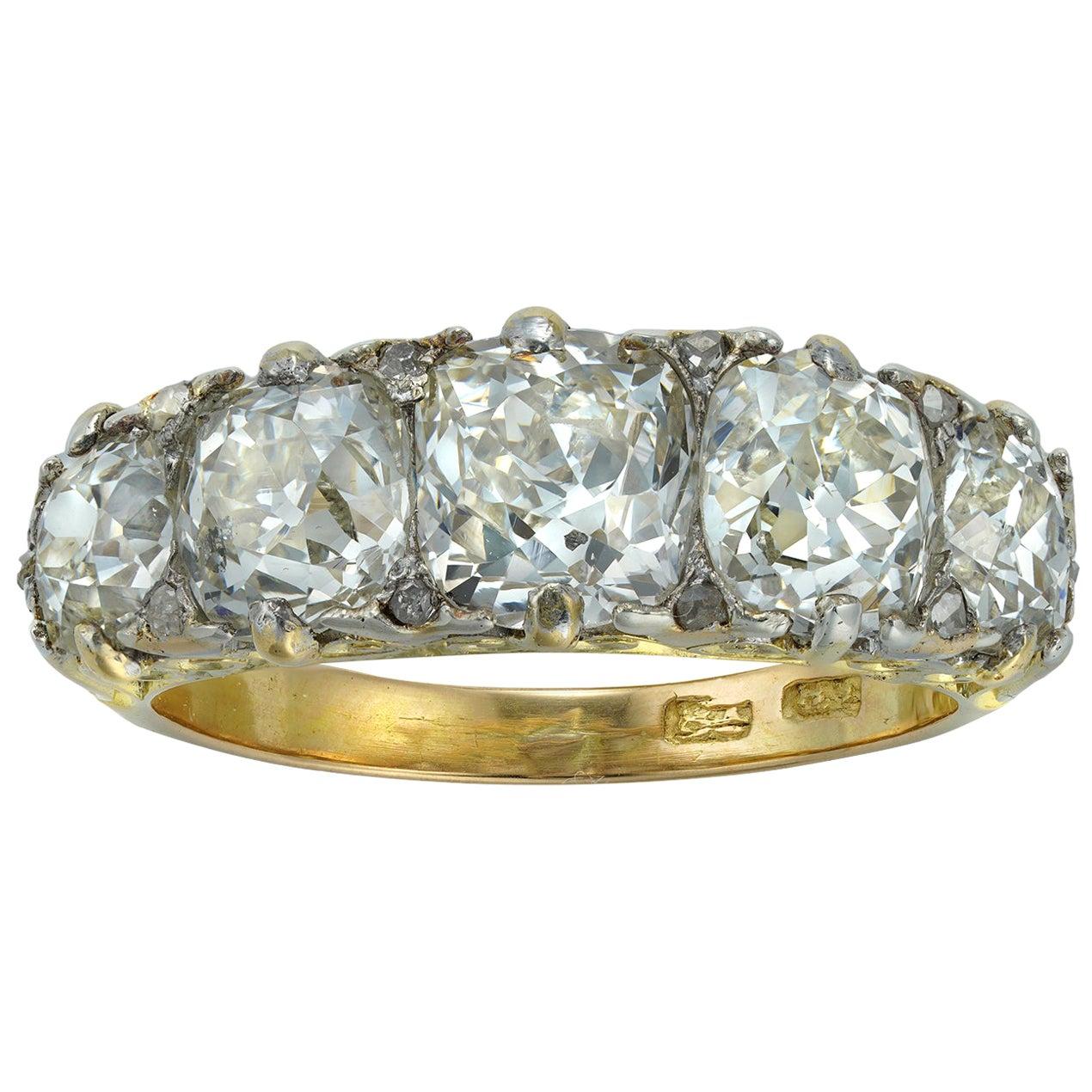 Late Victorian Five-Stone Diamond Ring