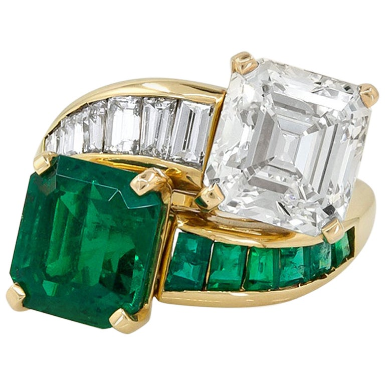 Colombian Emerald, Diamond Toi Et Moi Ring