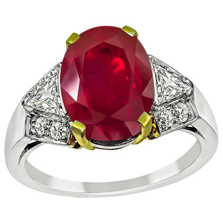 Art Deco AGL Certified 3.63 Carat Natural No Heat Burmese Ruby Engagement Ring