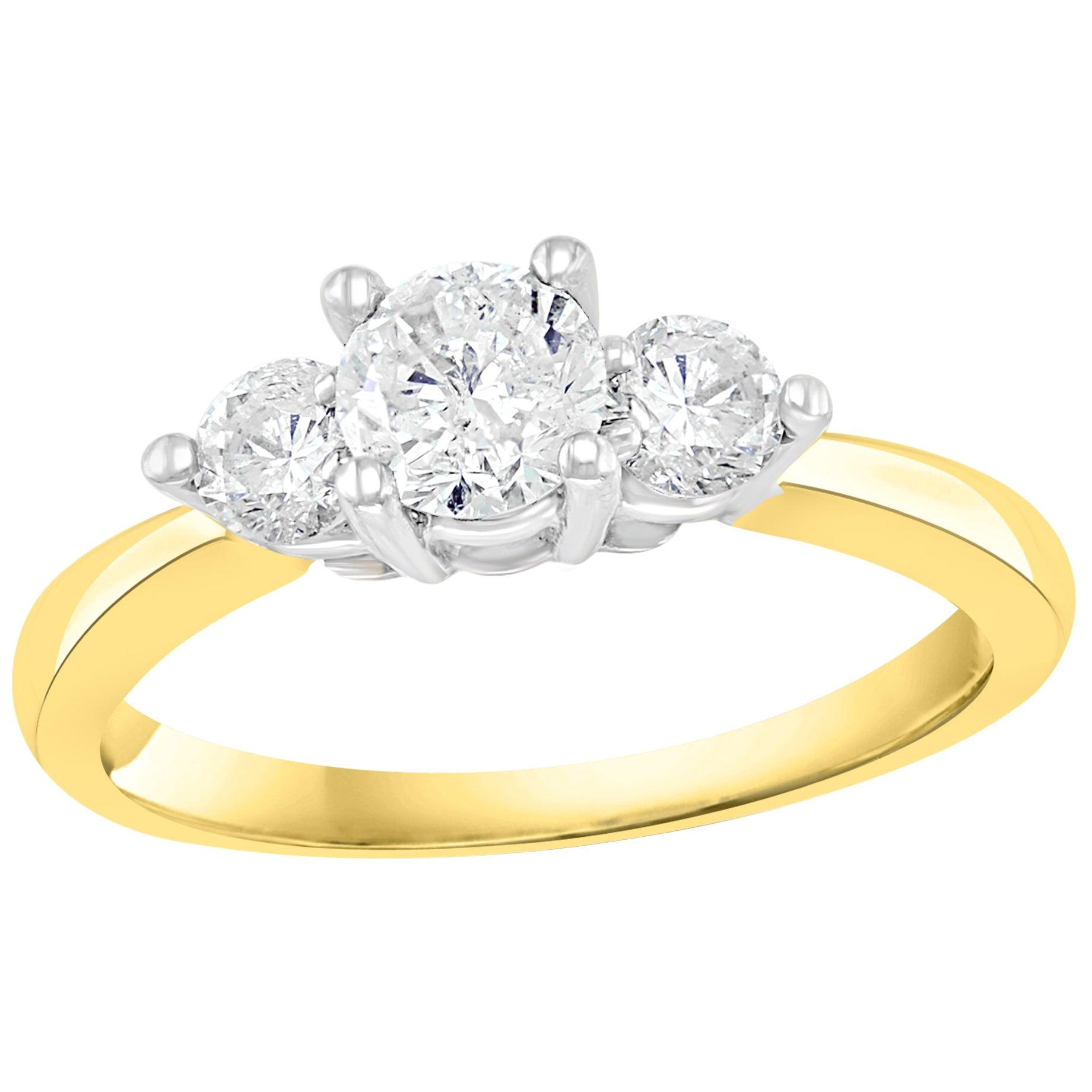 Three-Stone Diamond 1.0 Carat Traditional Ring/Band 14 Karat Yellow Gold