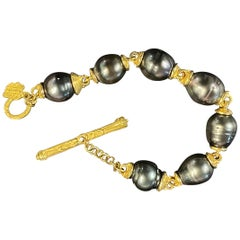 22 Karat Gold and Tahitian Pearl Bracelet by Denise Roberge