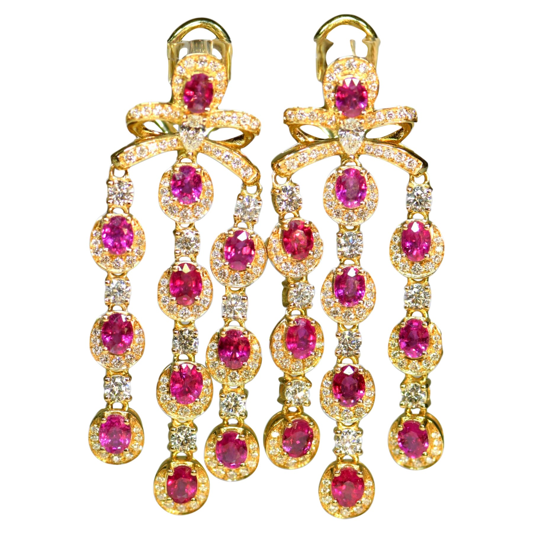 Pair of Ruby and Diamond Gold Drop Earrings