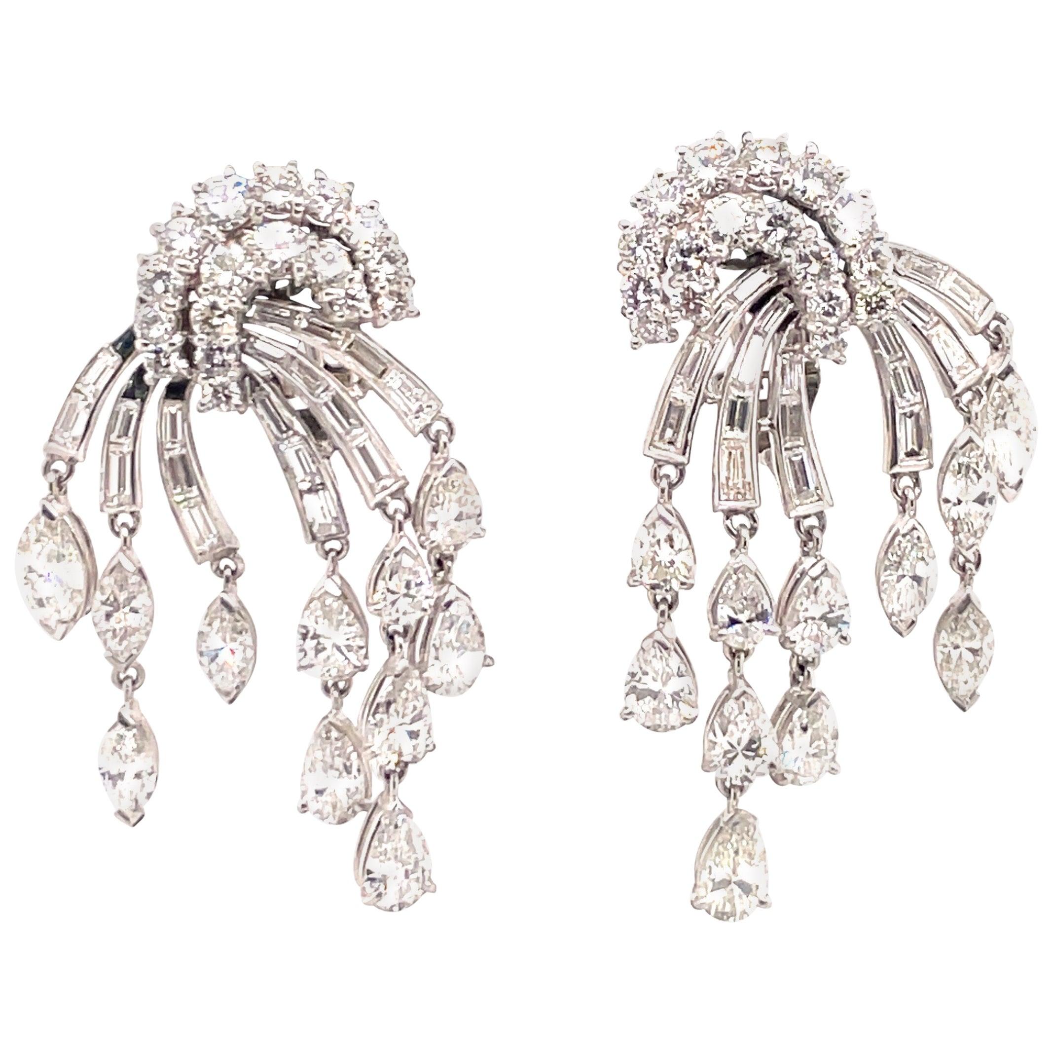 HARBOR D. Vintage Diamond Drop Tassel Earrings 12.50 Carat Platinum
