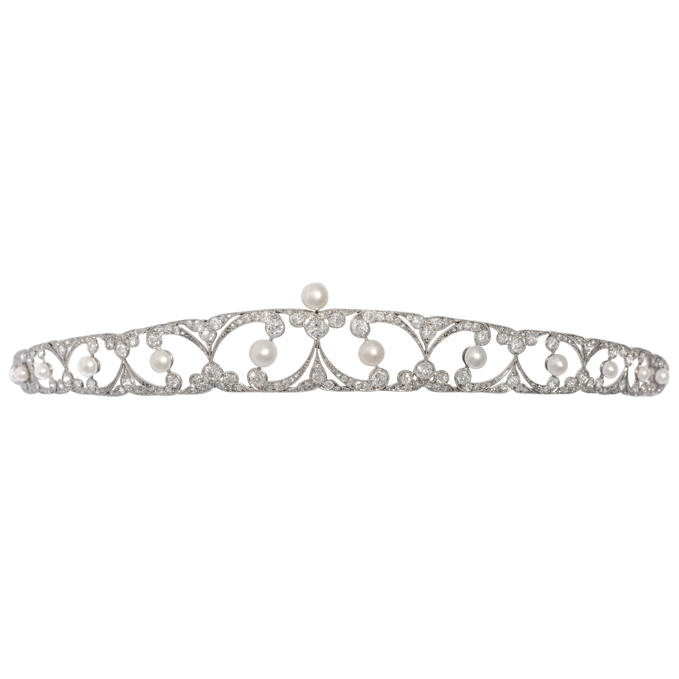 Belle Epoque Tiara Diamond and Pearl