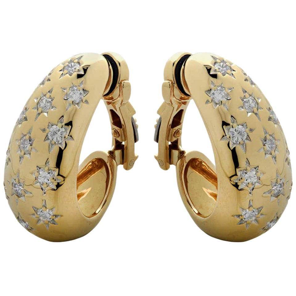 Diamond and Yellow Gold Half Hoop Ear Clips