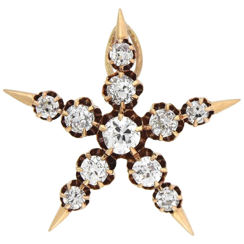 Victorian 0.80 Total Carat Mine Cut Diamond 5-Point Star Pendant