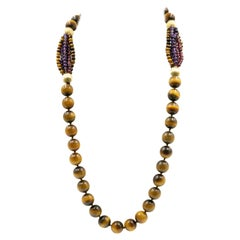Long Tiger's Eye Amethyst and Garnet Bead Necklace with Gold Filled Ribbed Beads