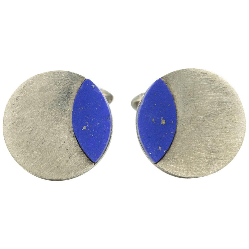 Modernist German Lapis Lazuli Sterling Silver Round Cufflinks