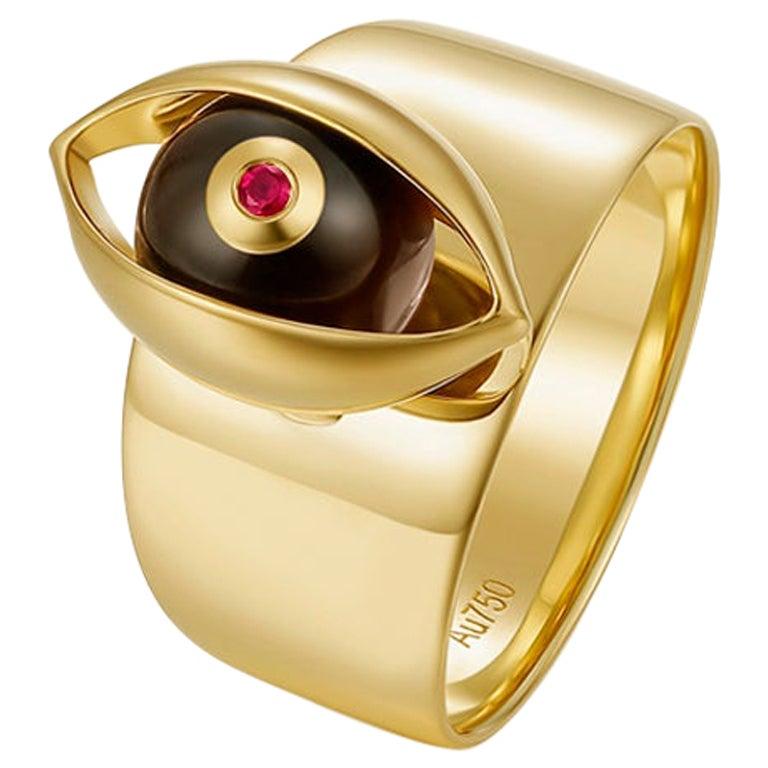 Eye Unisex Ring 18 Karat Yellow Gold Tiger's Eye Ruby Diamond