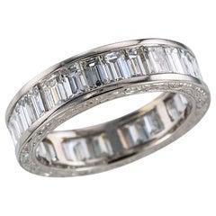 Estate Baguette Diamond Platinum Eternity Ring