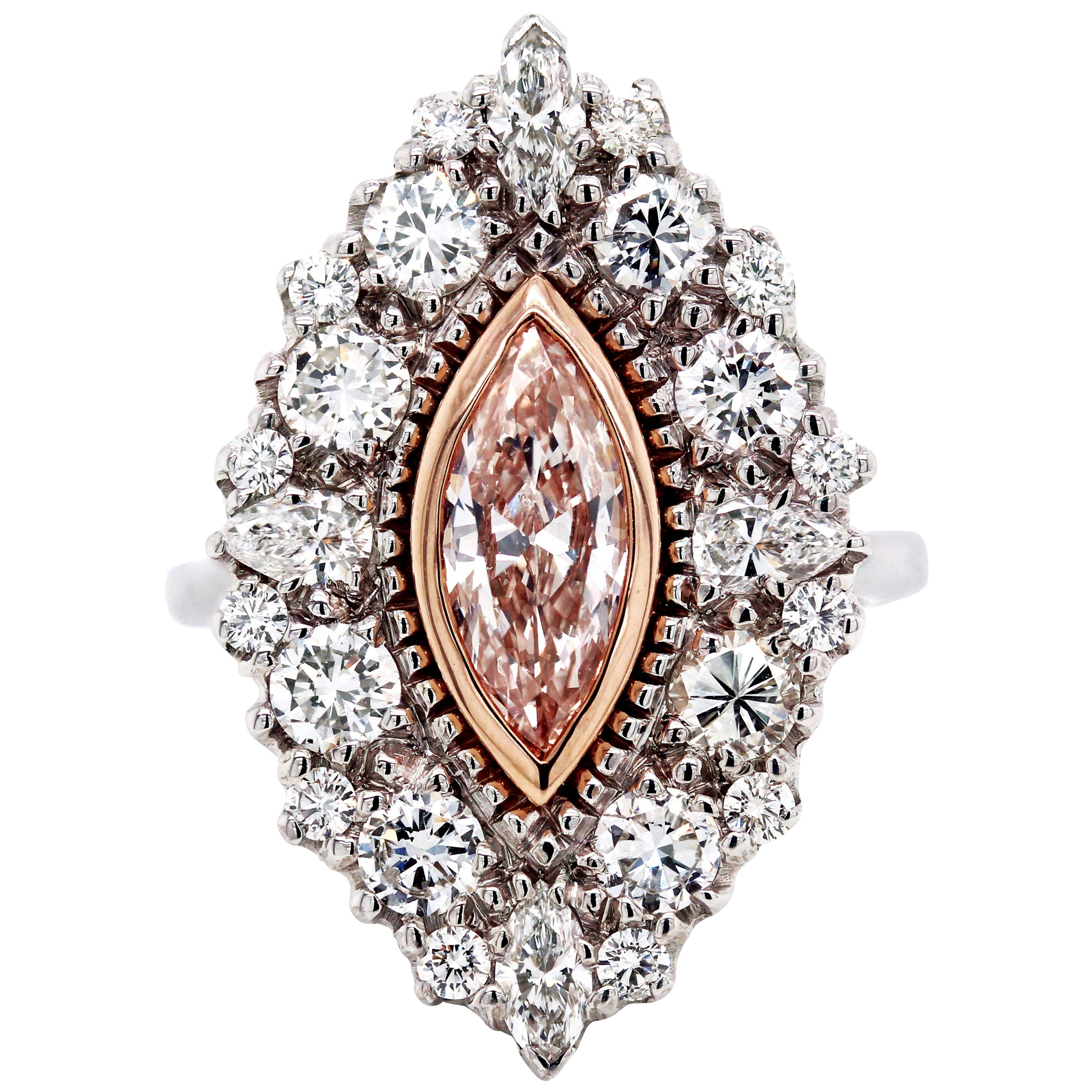 GIA Certified 0.88 Carat Marquise Pink Diamond 18 Karat White Gold Diamond Ring