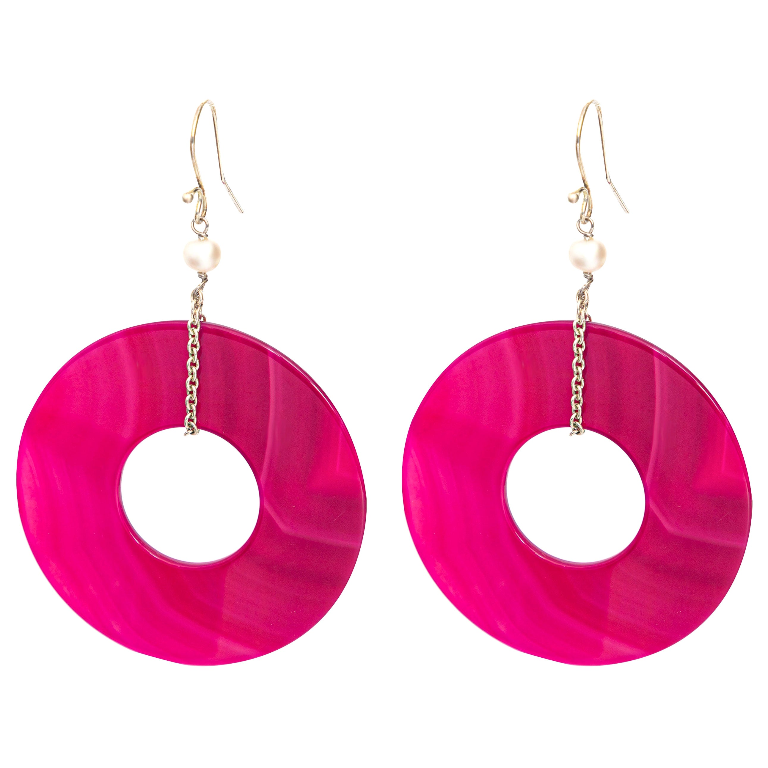 Agate Round Fuchsia Donut Shaped Pearls 925 Silver Dangle Chic Long Earrings