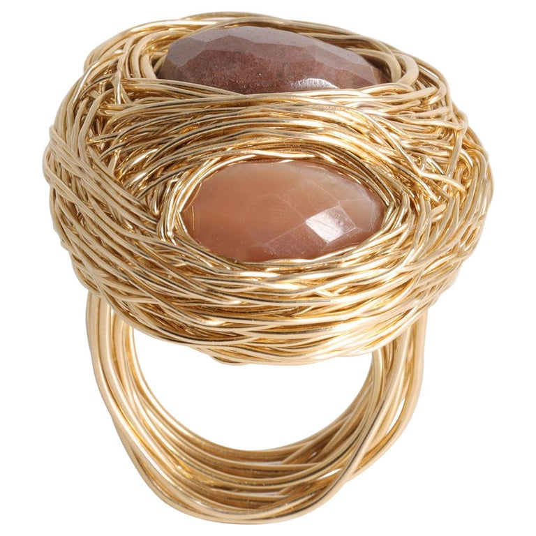 Sandy Tones and Yellow Gold Perfect Cocktail Ring by Sheila Westera in Stock For Sale
