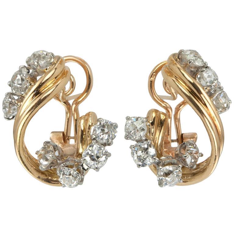 1950s Old European Cut Diamond Gold Platinum Twist Earrings