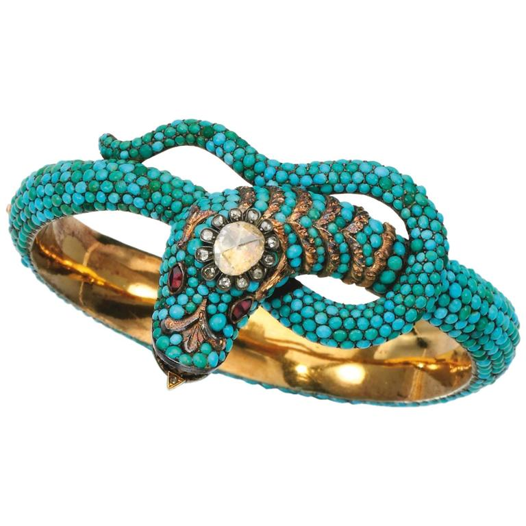 1850 Turquoise Garnet Diamond Gold Snake Bangle 1