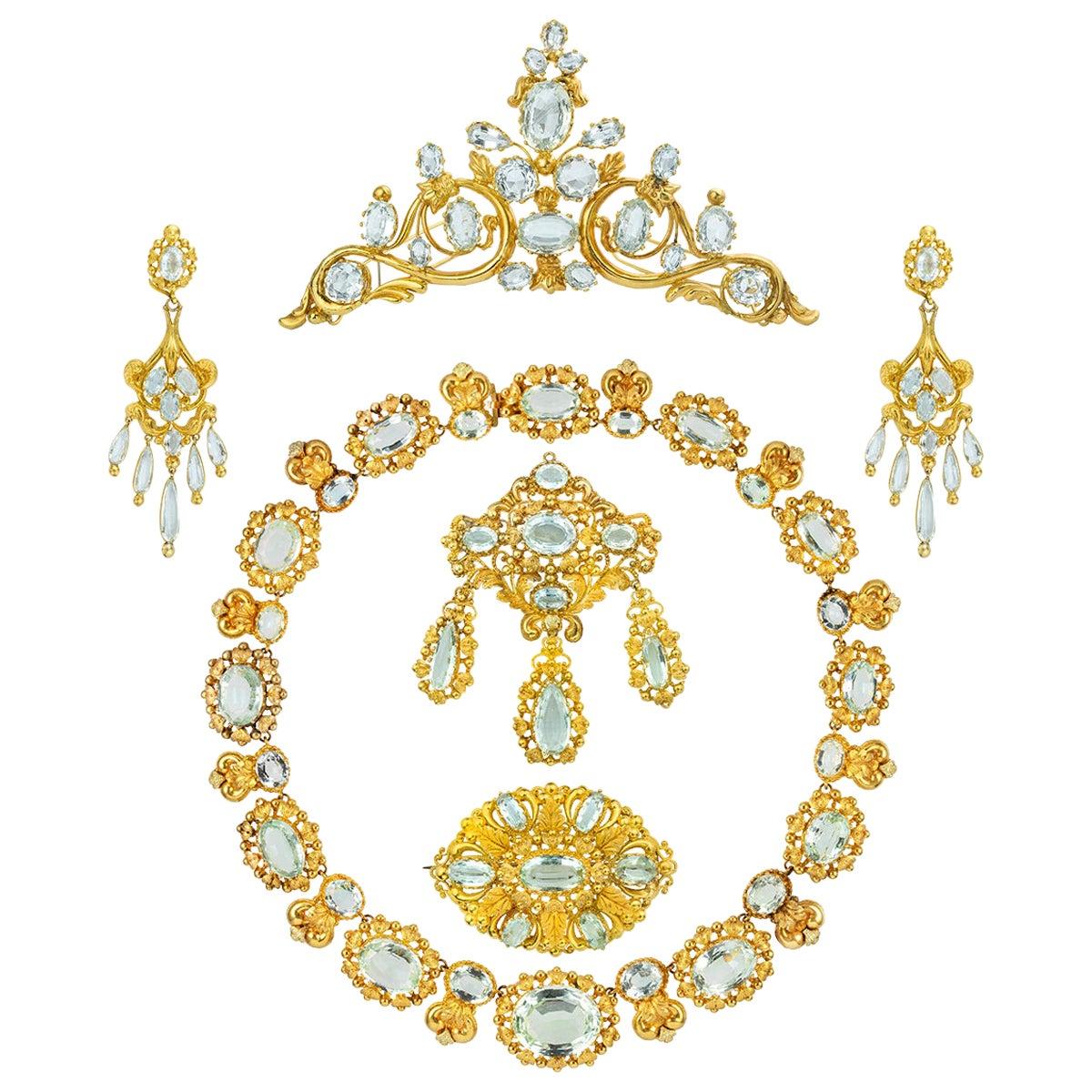 Late Georgian Aquamarine and Gold Parure