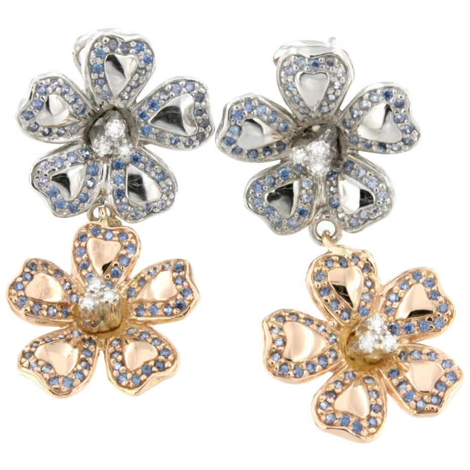 18 Karat White and Rose Gold with Tanzanite and White Diamonds Earrings