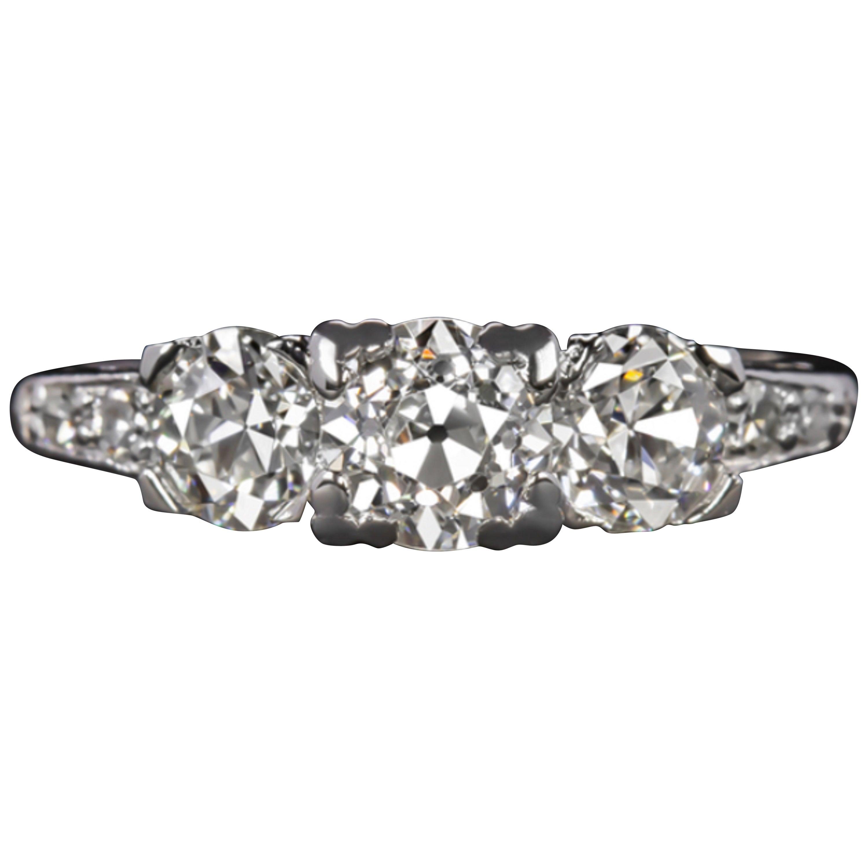 Old Cut 1.50 Carat Three-Stone Old Cut Diamond Trilogy Platinum Ring