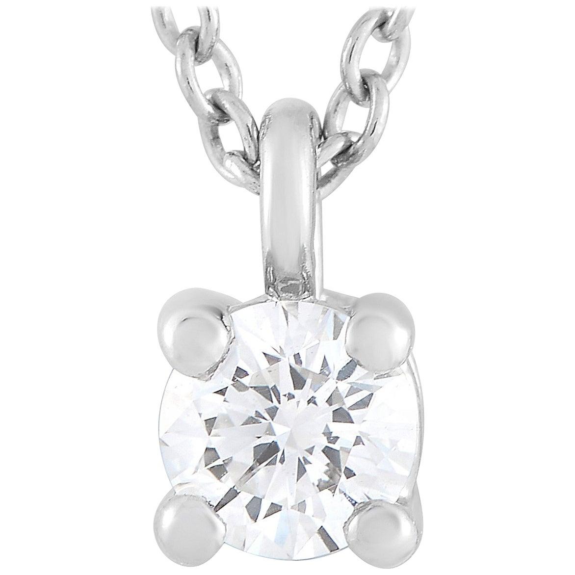 Tiffany & Co. Platinum 0.12 Carat Diamond Pendant Necklace