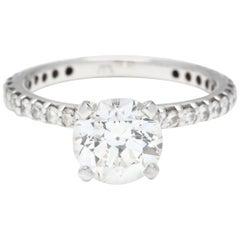 GIA 1.53 Carat Round Diamond 14 Karat White Gold Engagement Ring