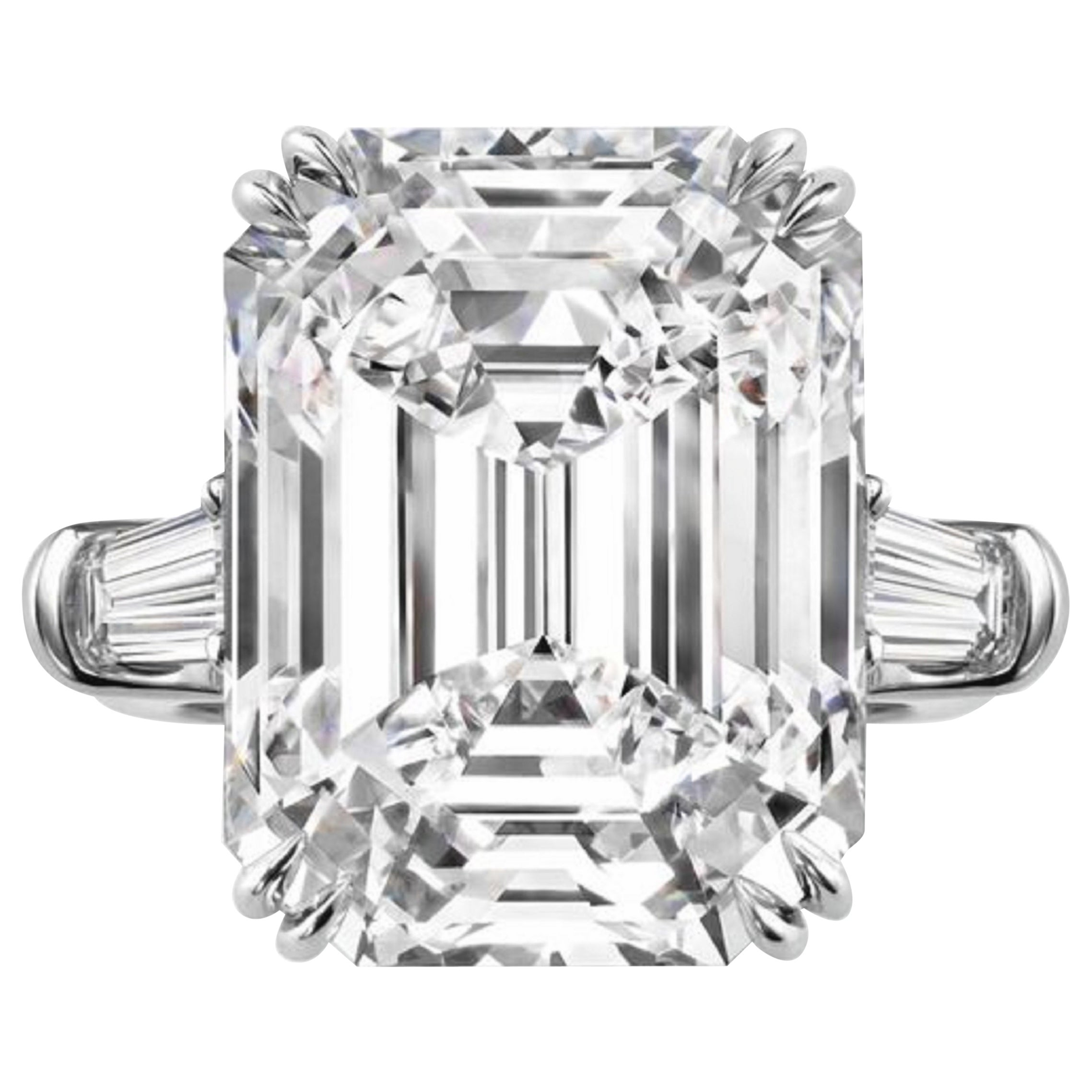GIA Certified 3.31 Carat Emerald Cut Diamond Ring