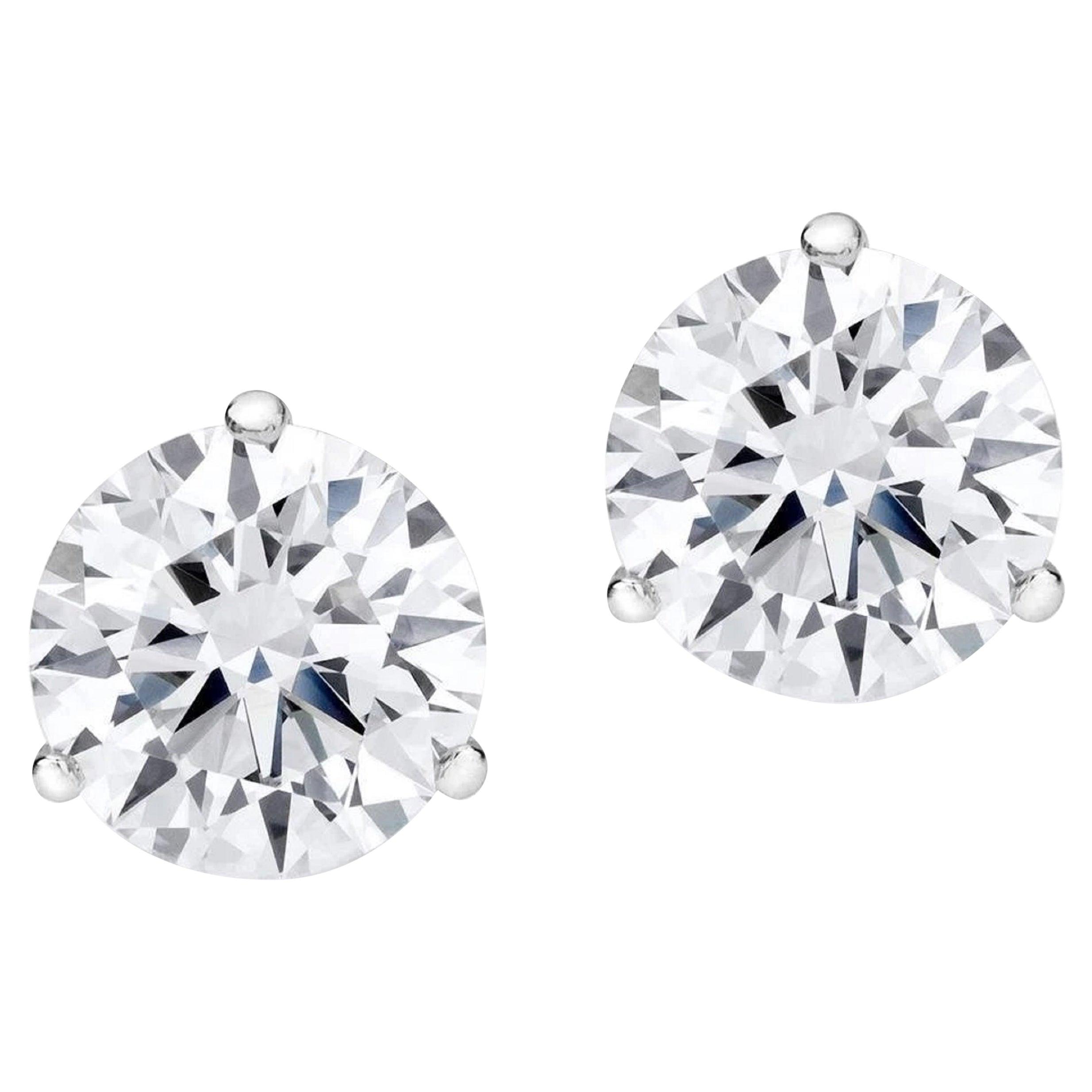 GIA Certified 3.07 Carat  Excellent Diamond Studs F Color VVS2 Clarity