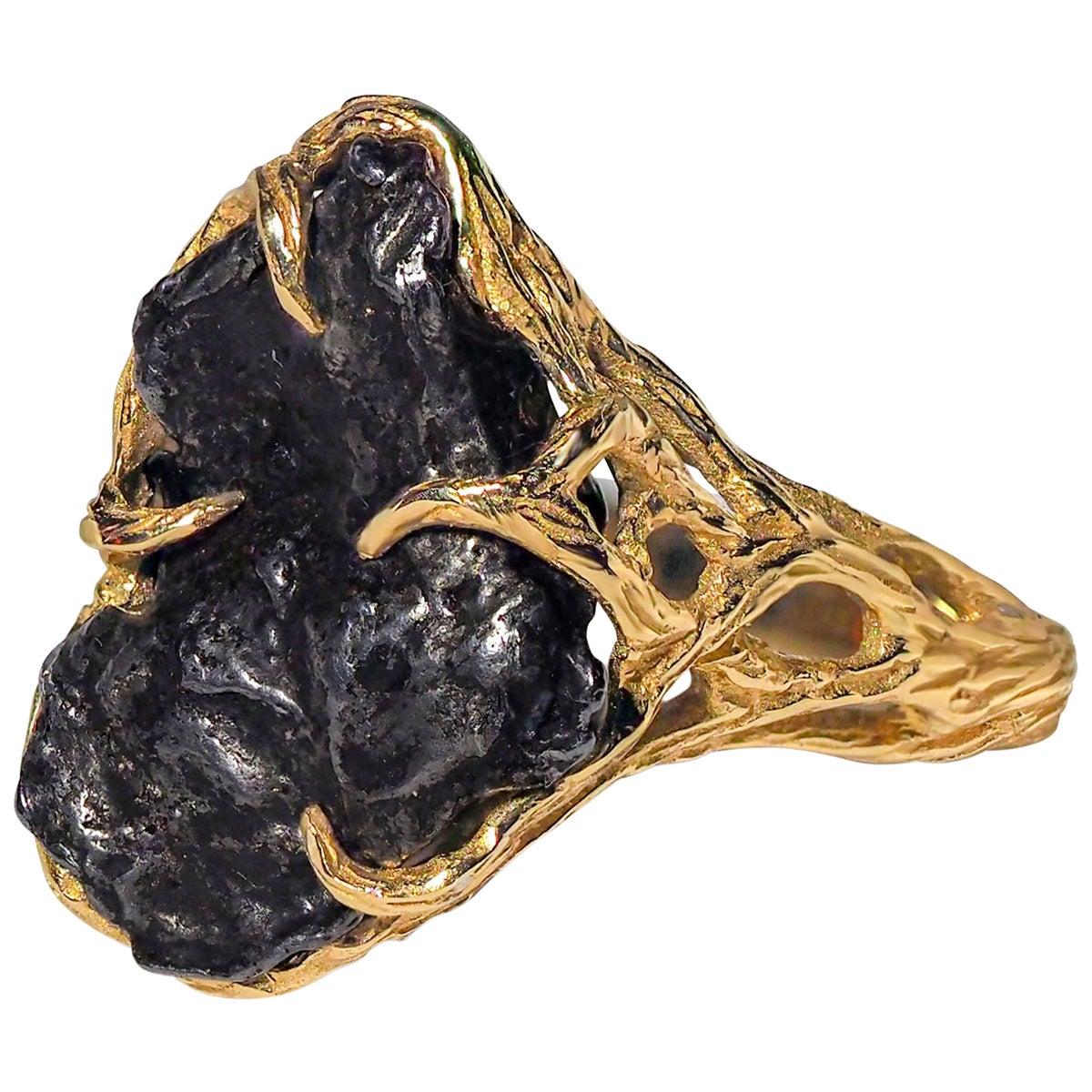Meteorite Ring 14K Yellow Gold Iron Gemstone Mens Unisex Jewelry Engagement new