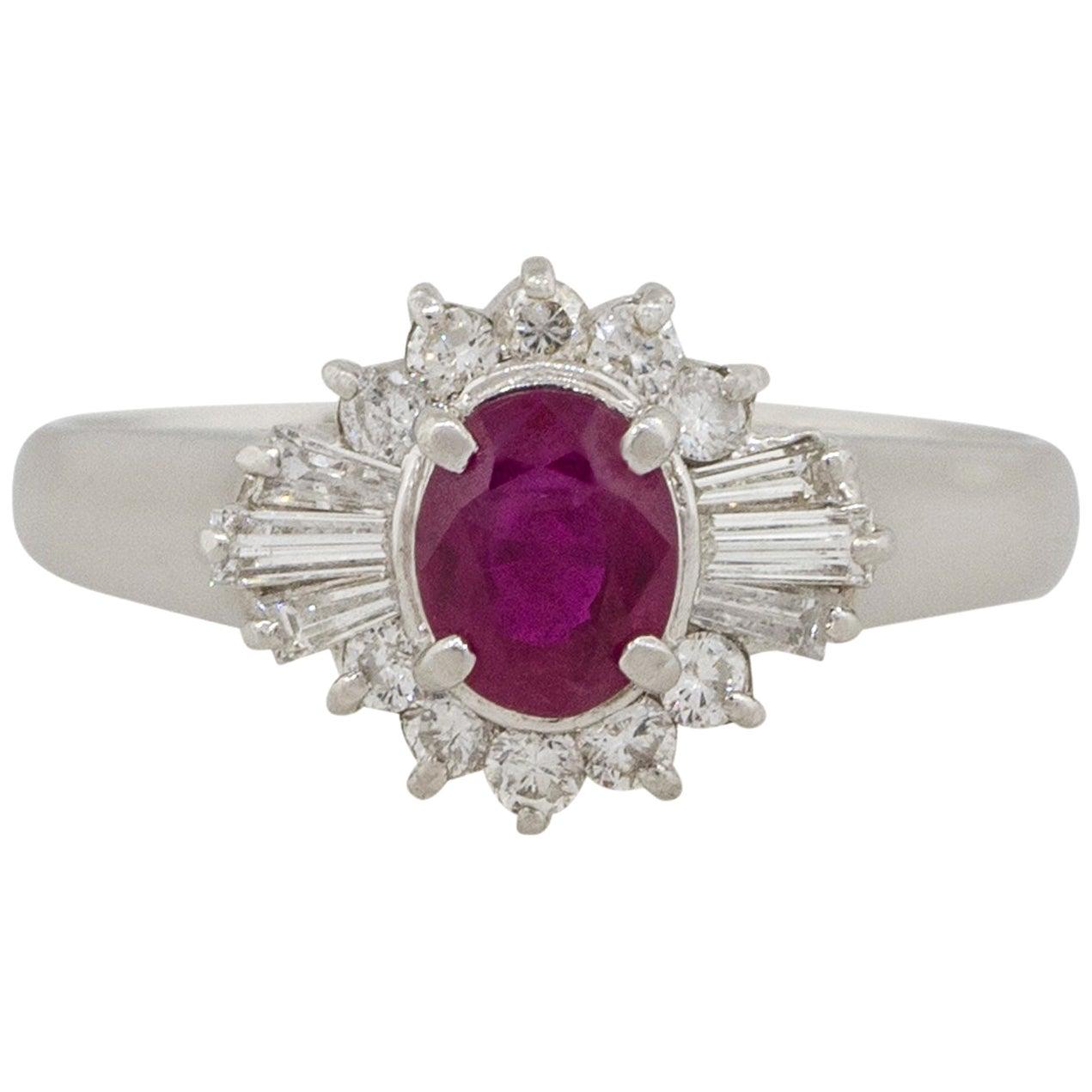 0.70 Carat Bezel Set Oval Cut Ruby Diamond Cocktail Ring Platinum in Stock