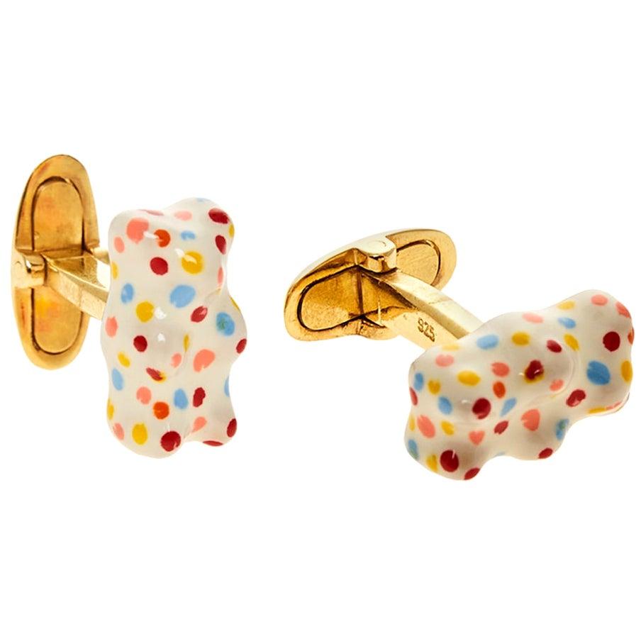 Cufflinks Gummy Bear Color Unisex Gift 18 Karat Silver Gold-Plated Greek Jewelry