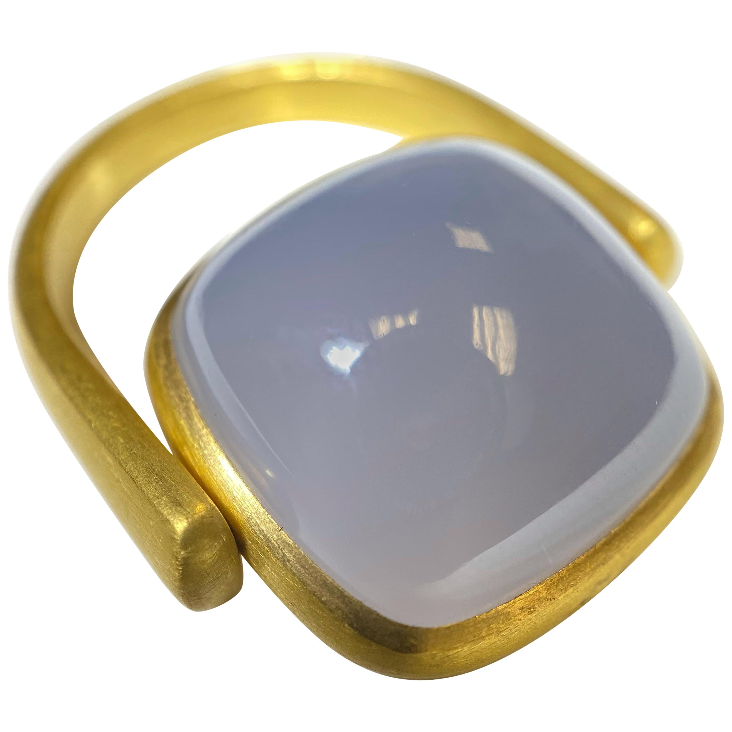 Chalcedony Flip Ring in 22 Karat Gold, A2 by Arunashi