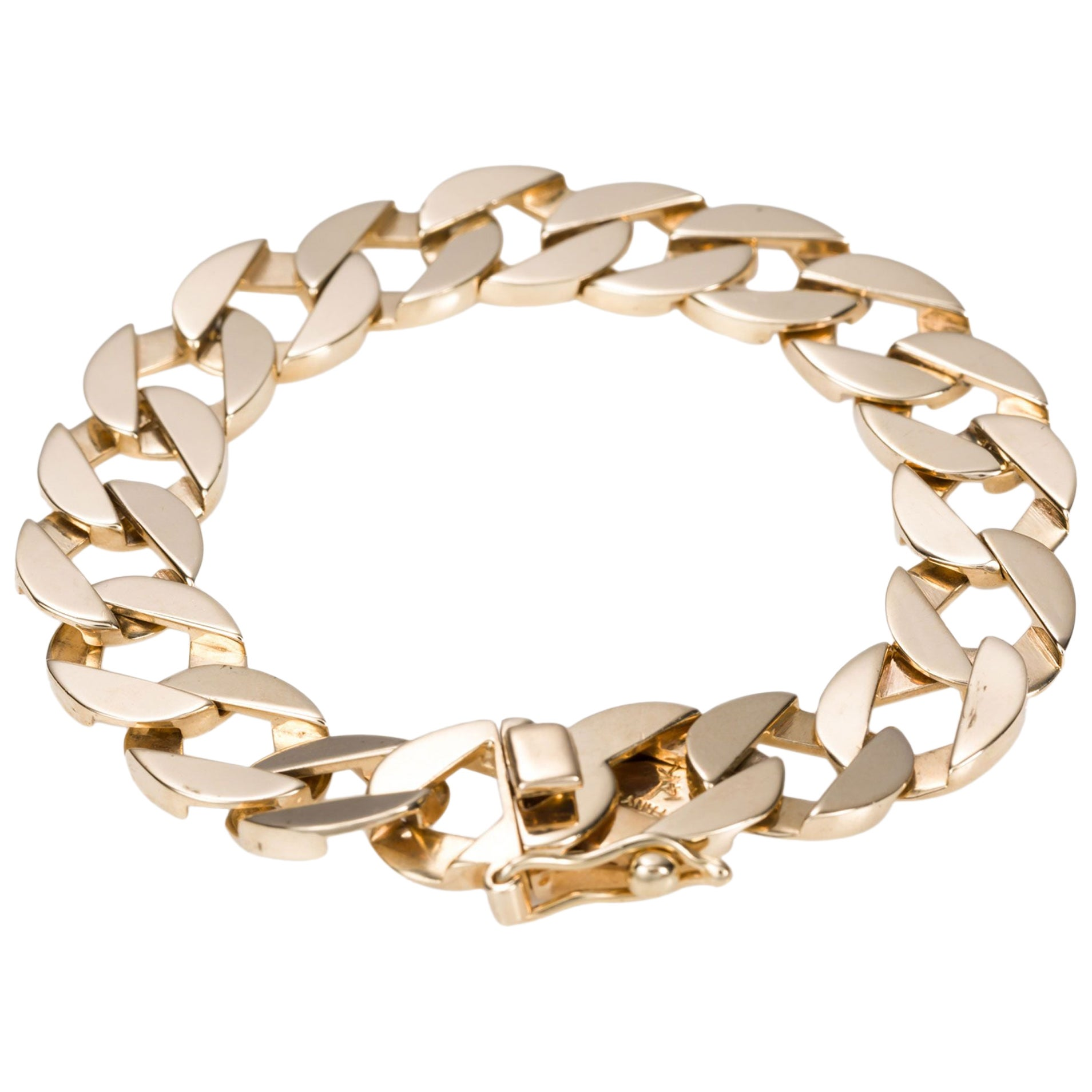 14 Karat Yellow Gold Tiffany & Co. Unisex Flat Link Bracelet