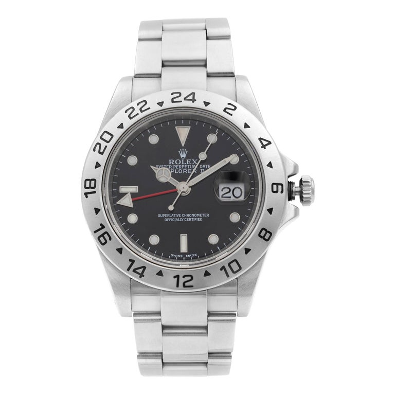 Rolex Explorer II Steel GMT Black Dial Oyster Band Automatic Men's Watch 16570 For Sale