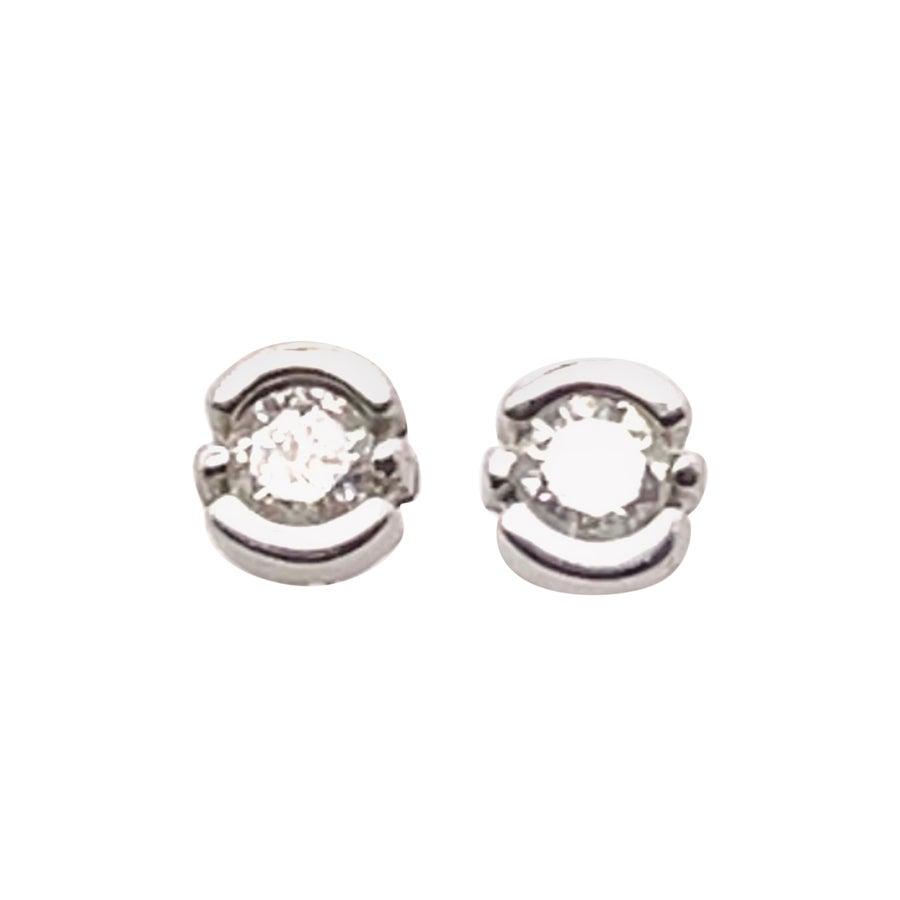 14 Karat White Gold with Diamond Stud Earrings Bezel Design