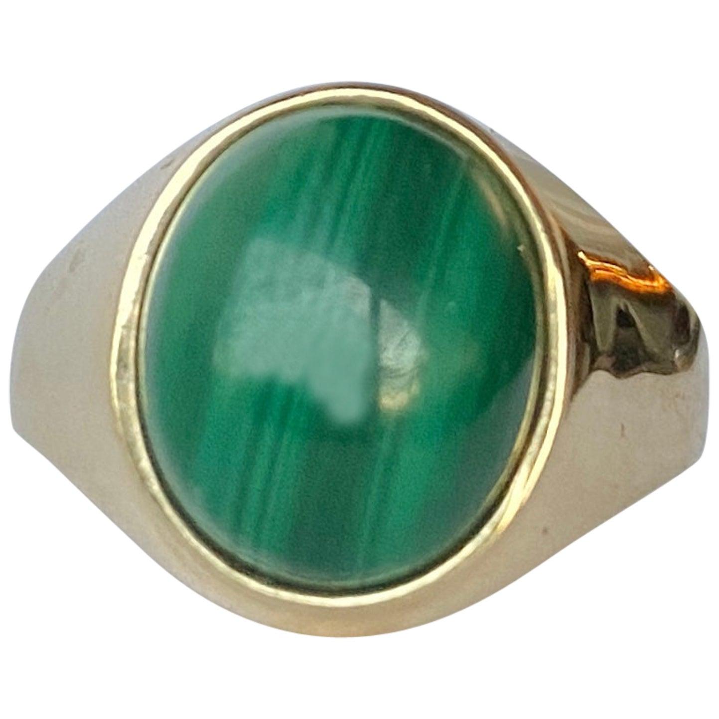 Antique Malachite and 9 Carat Gold Signet Ring