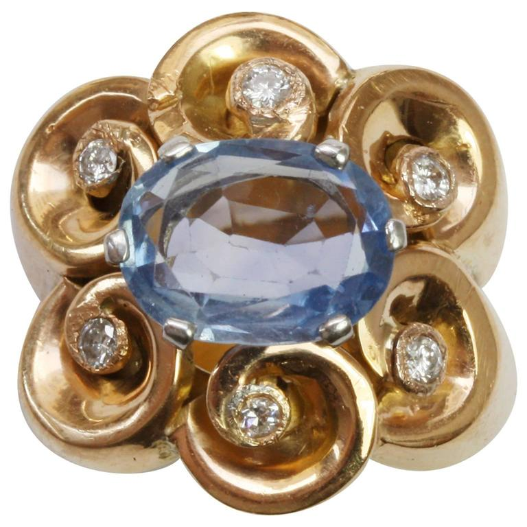 Sapphire Diamond Gold Retro Pinky Ring For Sale