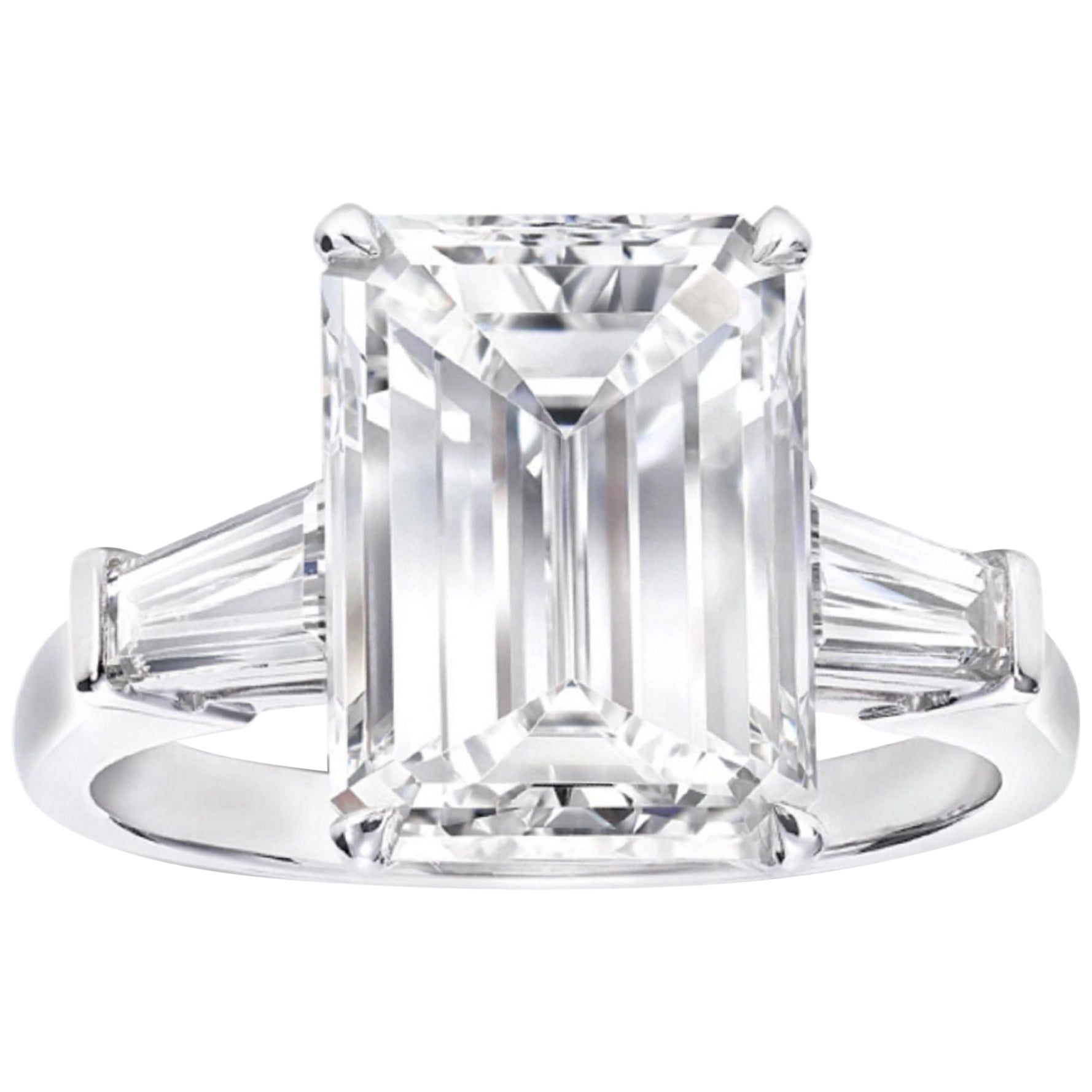 GIA Certified 4.50 Carat Emerald Cut Diamond Ring E Color VS2 Clarity