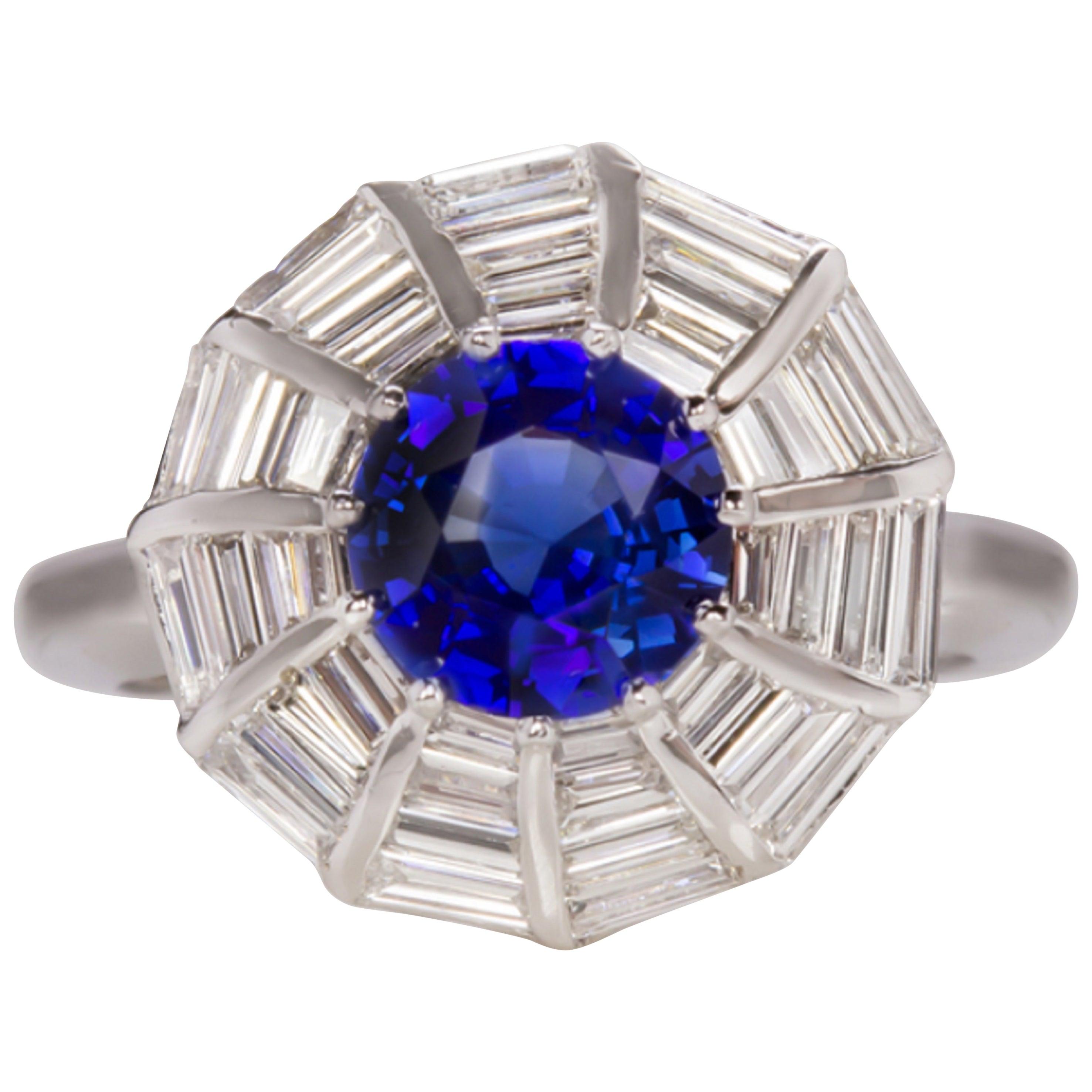 4 Carat Royal Blue Sapphire Double Vintage Revival Halo Ring 18 Karat