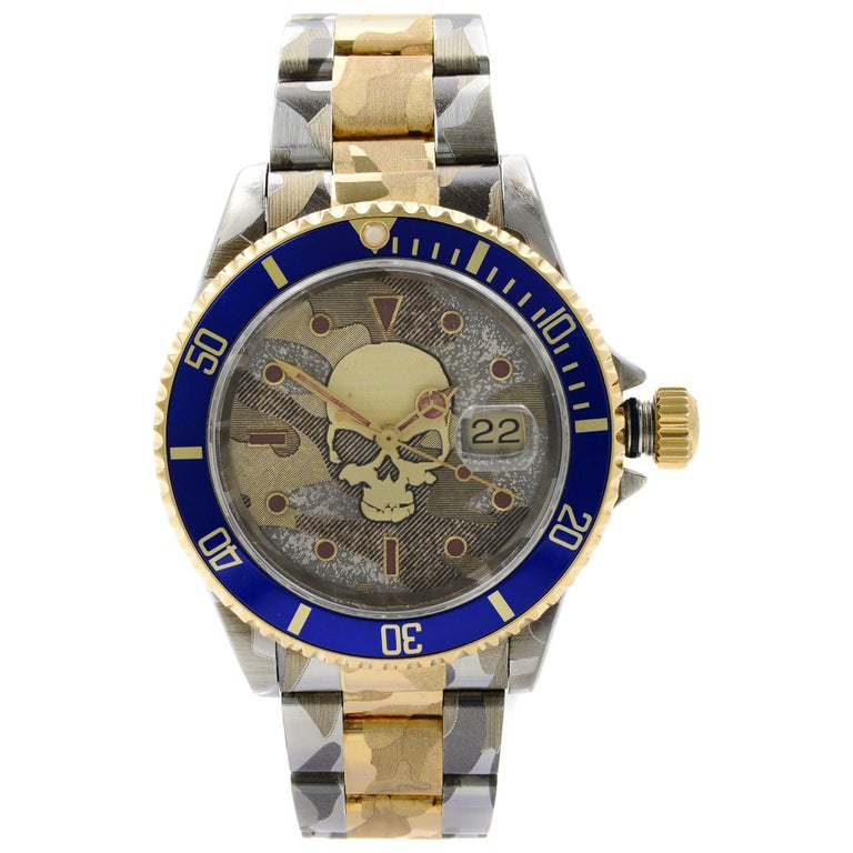 Rolex Submariner Steel 18 Karat Gold Custom Camo Automatic Men's Watch 16613 For Sale