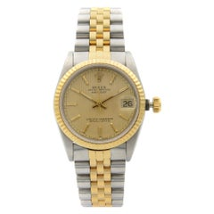 Rolex Datejust Steel 18 Karat Yellow Gold Champagne Dial Midsize Watch 68273